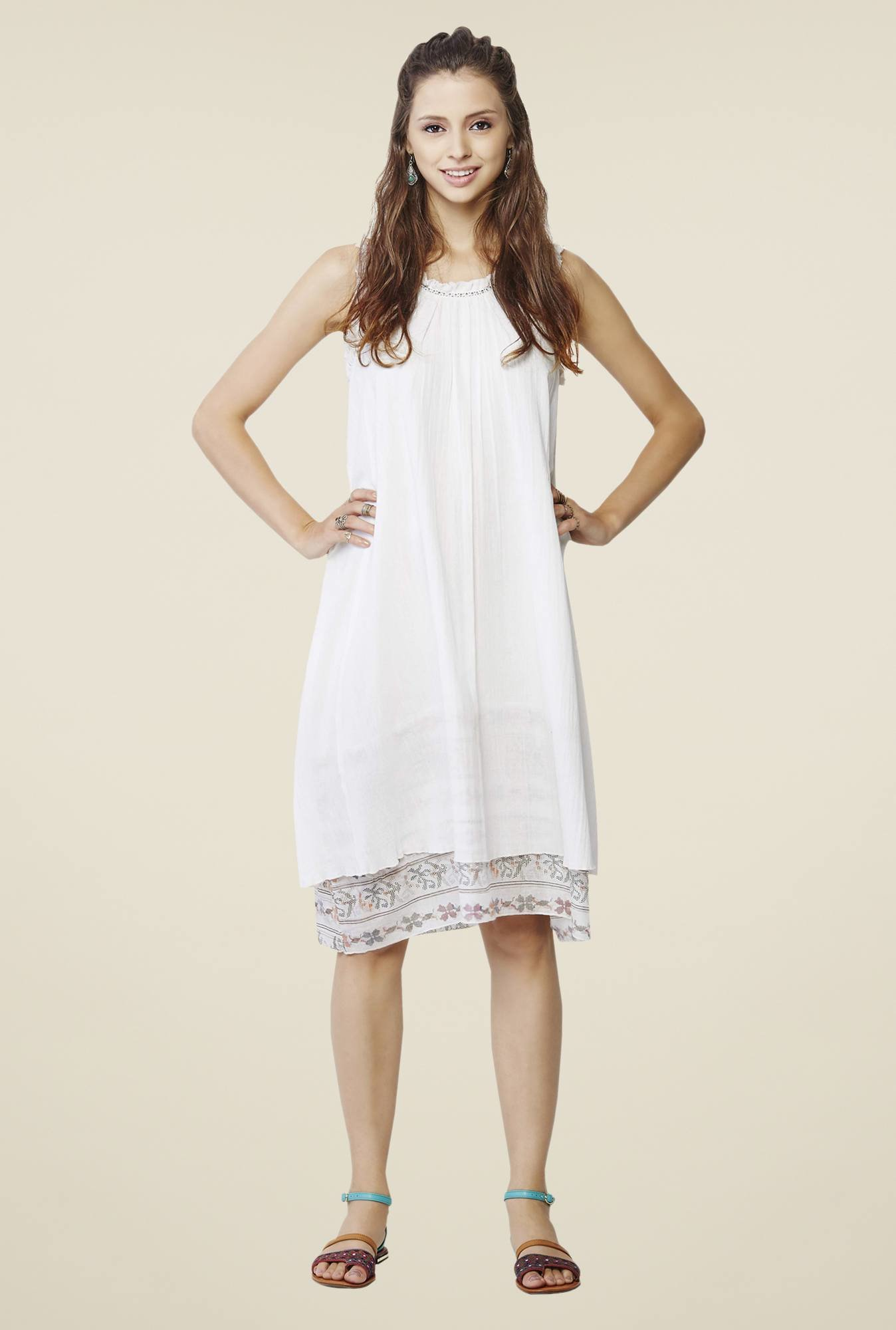 Global Desi Off White Solid Dress