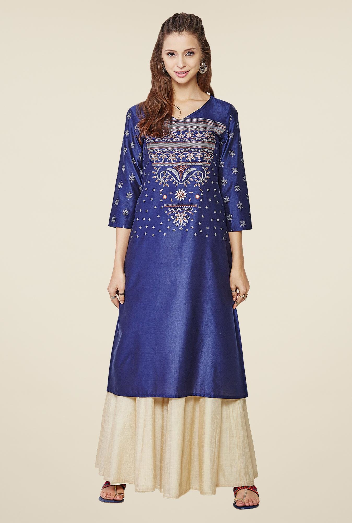 Global Desi Dark Blue Printed Kurta