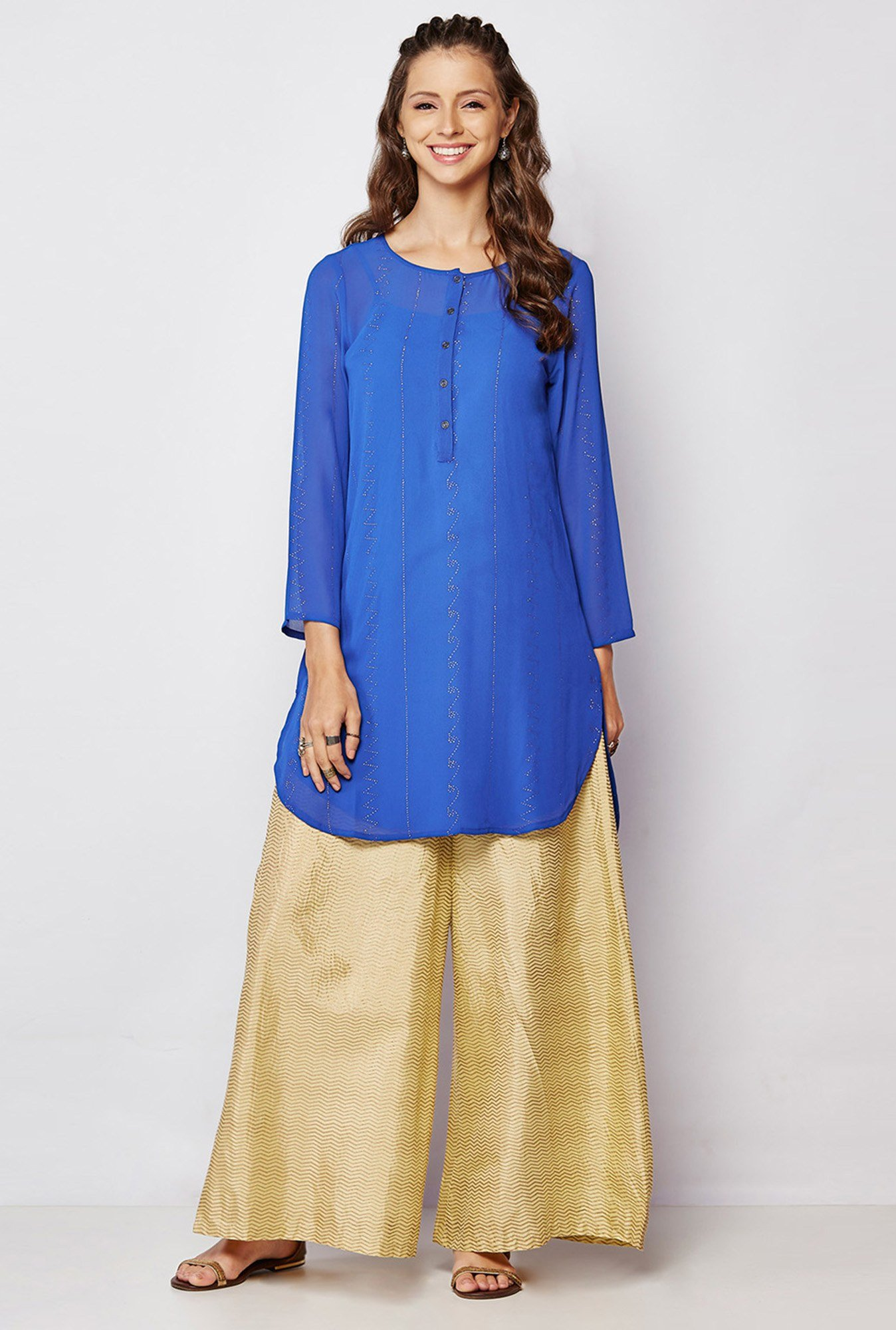 Global Desi Blue Embellished Kurti