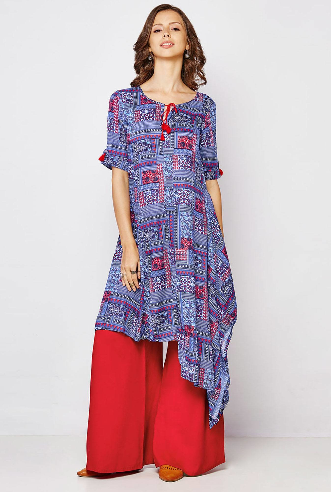 Global Desi Blue Printed Kurti