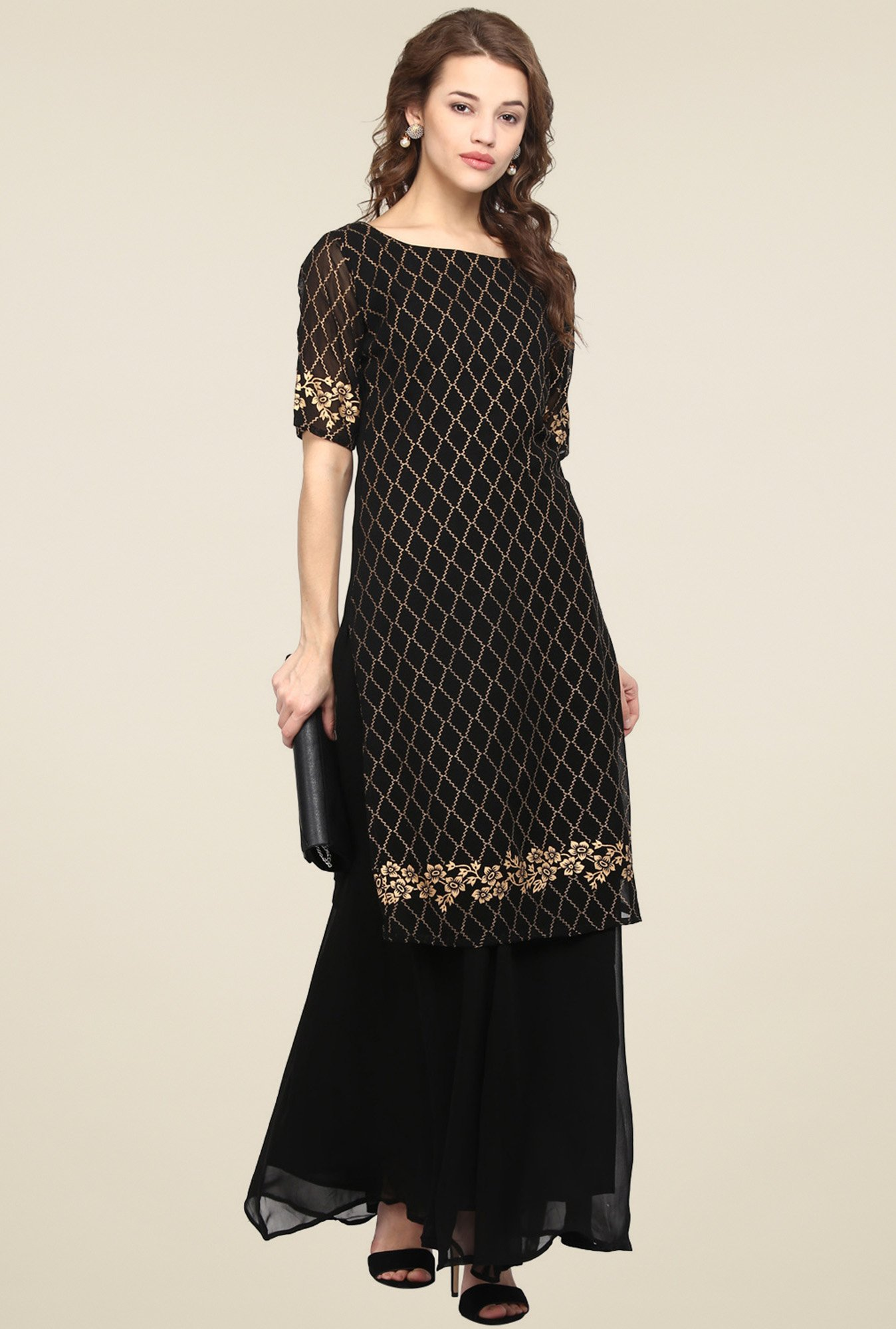 Ahalyaa Black Half Sleeves Kurti