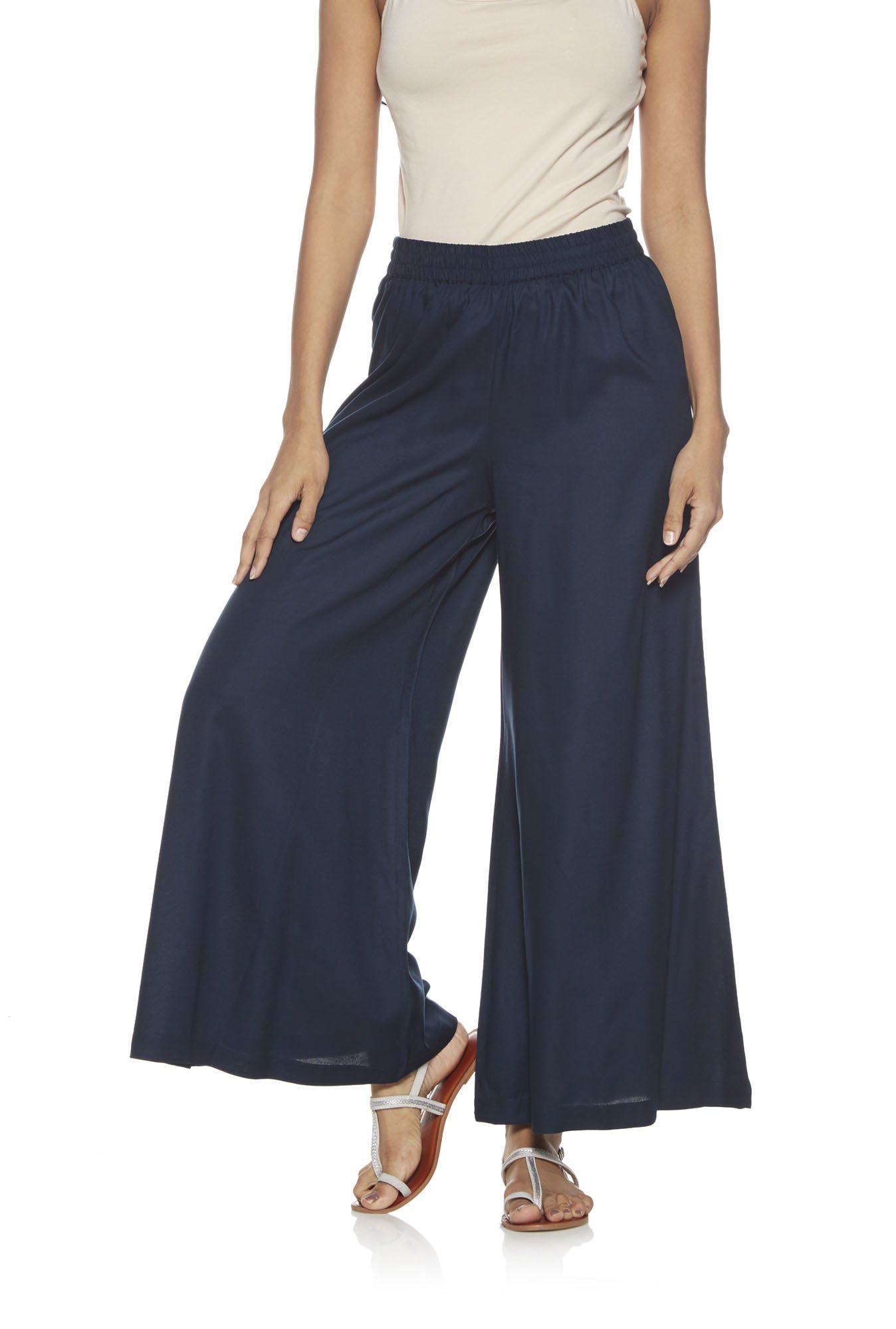 Utsa by Westside Navy Solid Palazzos