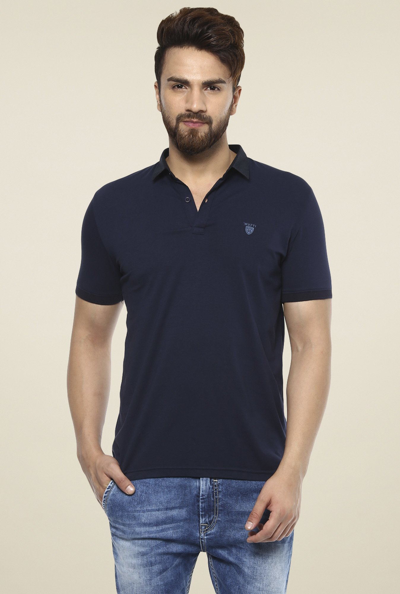 336c1d02c9e6 Buy Mufti Navy Half Sleeves Slim Fit Polo T-Shirt for Men Online ...