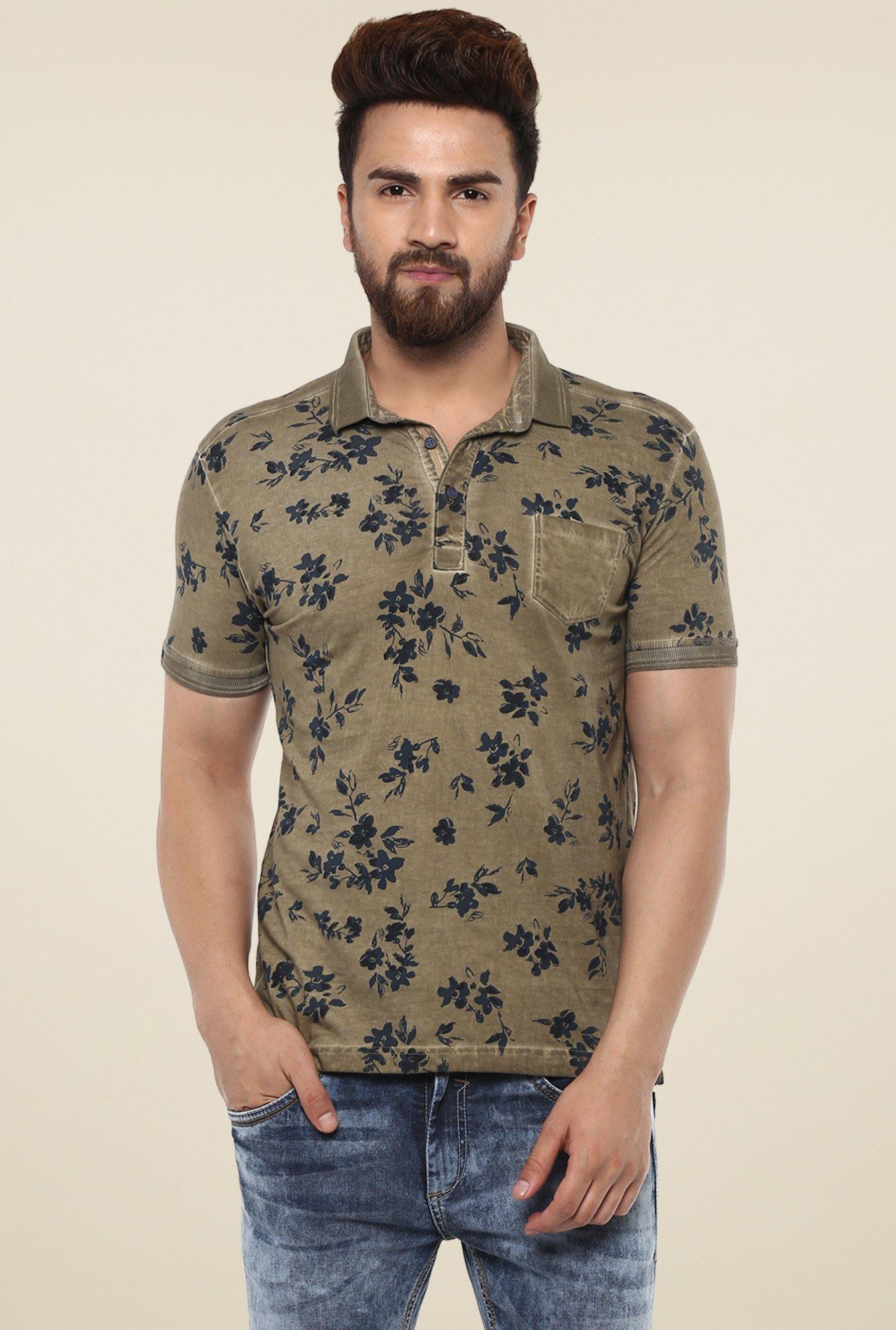 f76d8ad0 Buy Mufti Khaki Half Sleeves Polo T-Shirt for Men Online @ Tata CLiQ