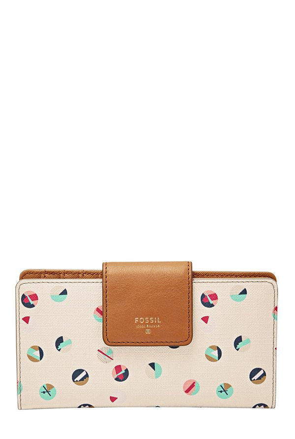 Fossil Beige & Blue Printed Leather Wallet