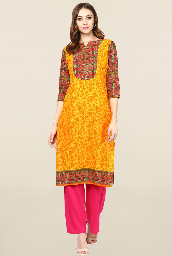 Jaipur Kurti Yellow Printed Cotton Kurta