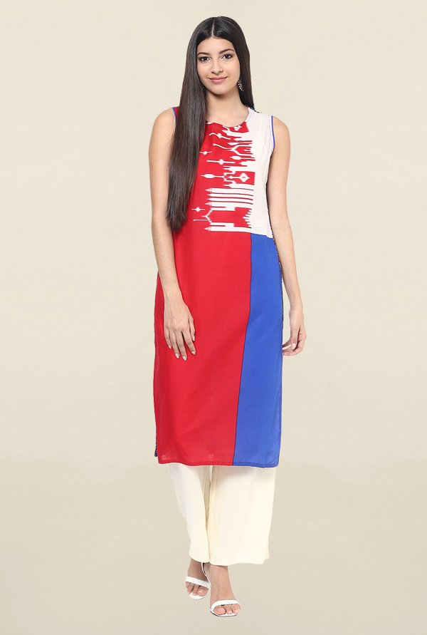 Jaipur Kurti Red & Blue Printed Cotton Kurta