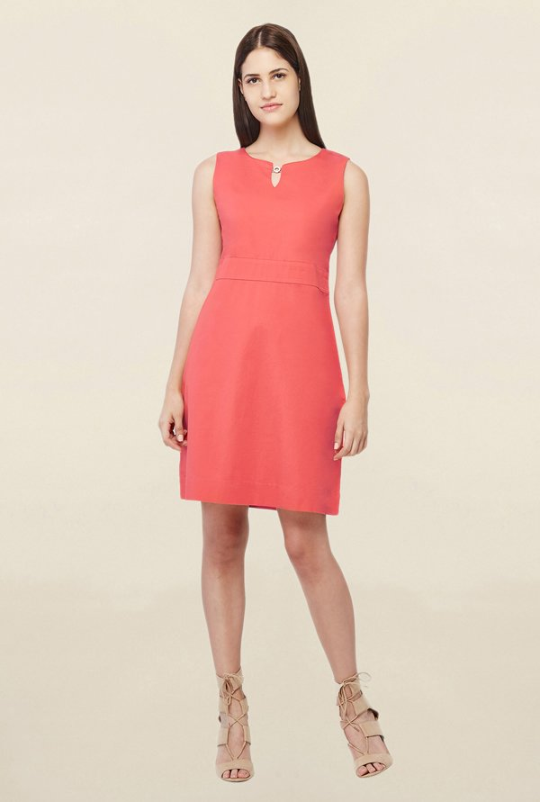AND Coral Round Neck Above Knee Dress