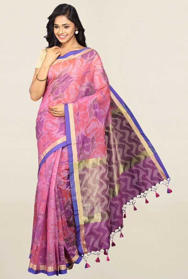Pavecha's Purple Printed Cotton Silk Saree With Blouse