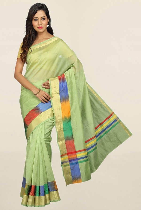 Pavecha's Green Cotton Silk Saree With Blouse