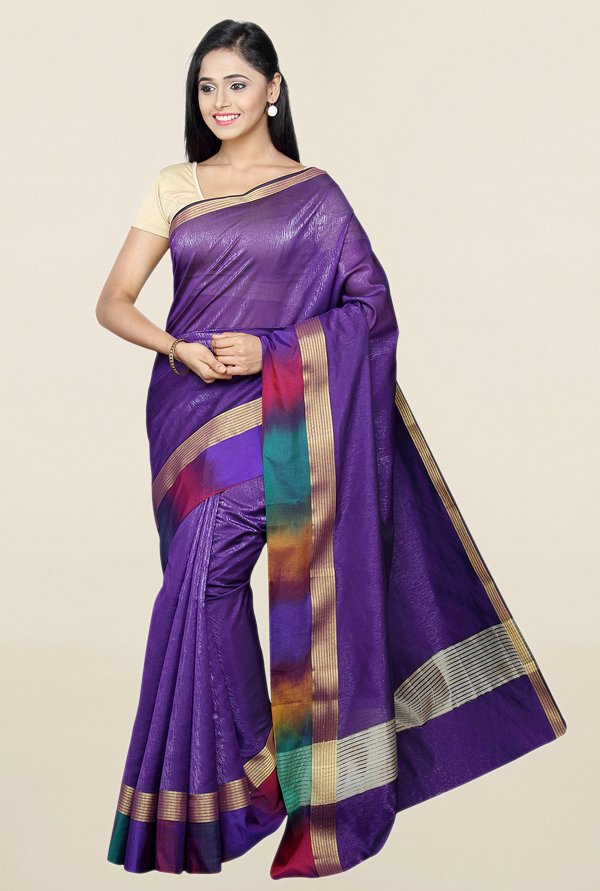 Pavecha's Purple Textured Cotton Silk Saree With Blouse