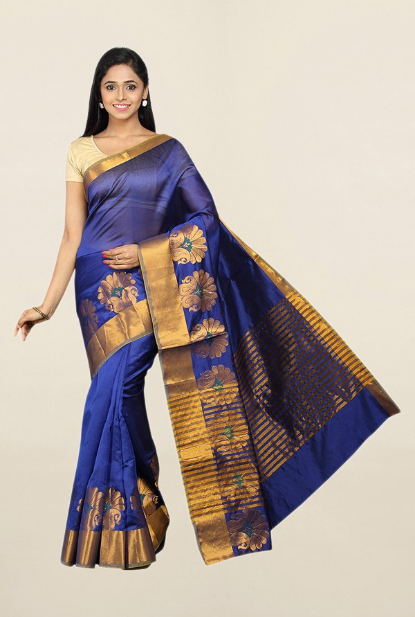 Pavecha's Blue Printed Cotton Silk Saree With Blouse