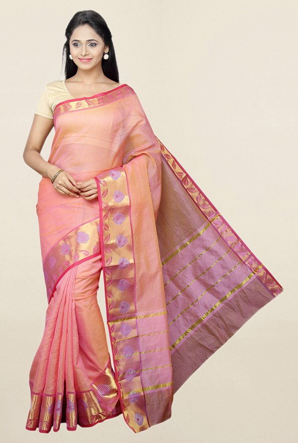 Pavecha's Pink Checks Cotton Silk Saree With Blouse