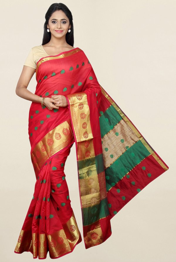Pavecha's Red Cotton Silk Banarasi Saree With Blouse