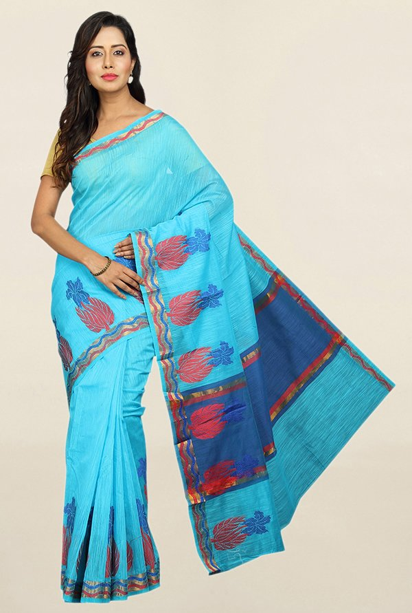 Pavecha's Blue Cotton Silk Banarasi Saree With Blouse