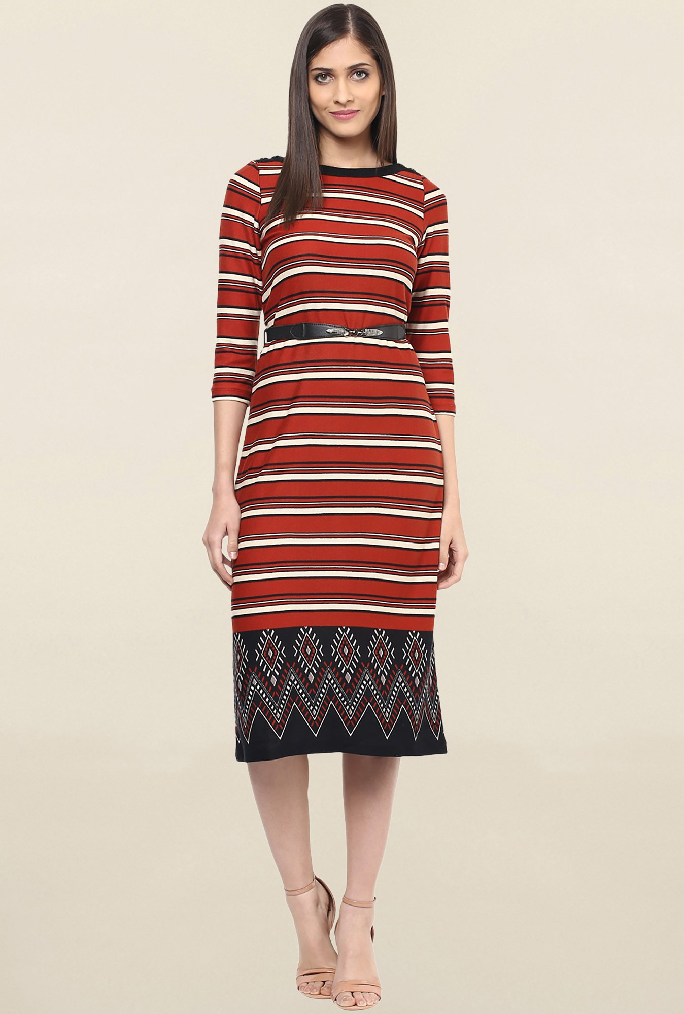 Buy 109 F Rust Striped Knee Length Dress for Women Online   Tata ... a370577be