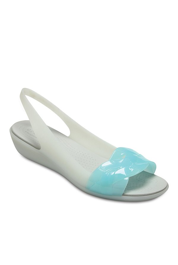 Crocs Isabella Pearl White & Sky Blue Sling Back Wedges