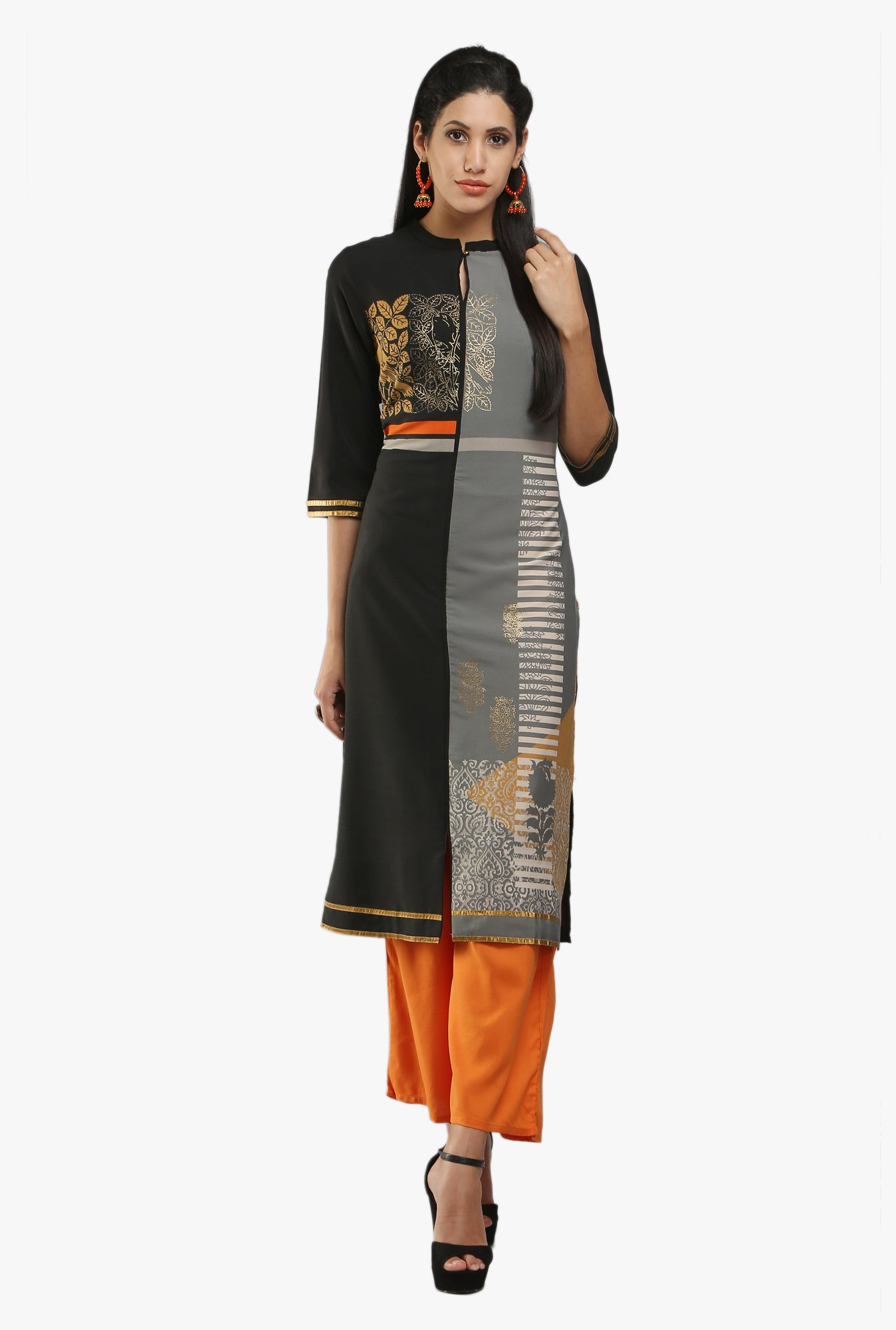 W Grey & Black Block Print Kurta