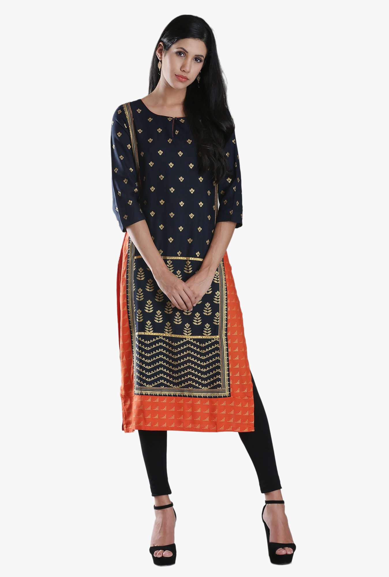 W Navy & Orange Block Print Viscose Kurta