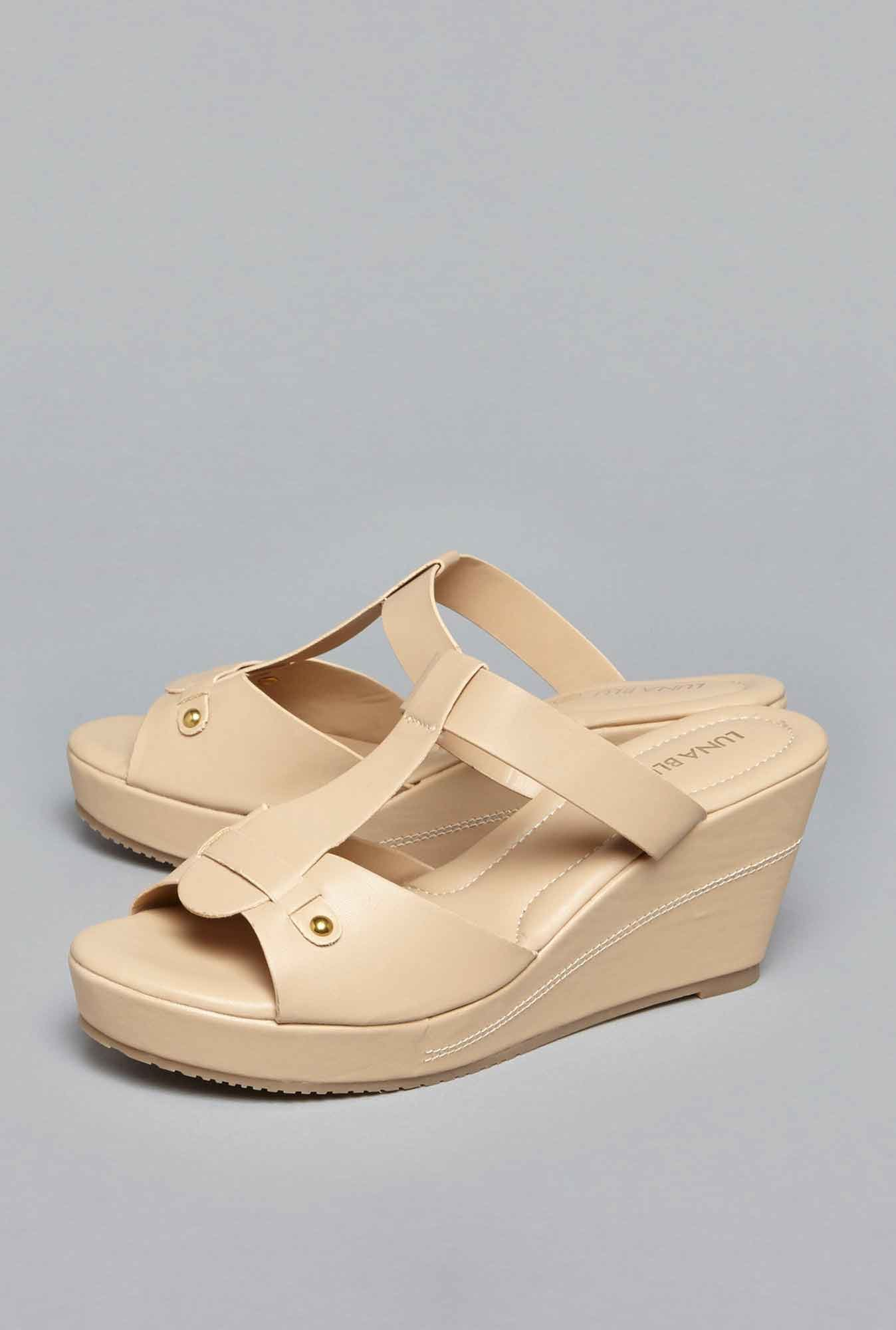 LUNA BLU by Westside Beige Slip-On Sandals