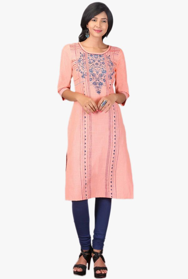 Aurelia Peach Embroidered Cotton Kurta