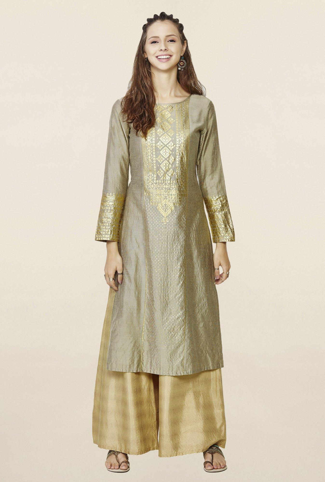 Global Desi Beige Printed Kurta