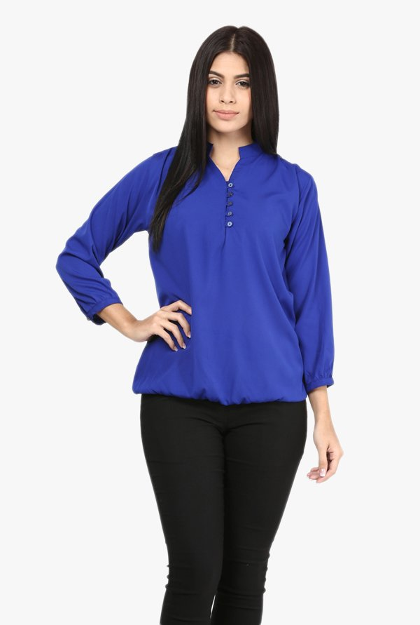 Mayra Blue Mandarin Collar Top
