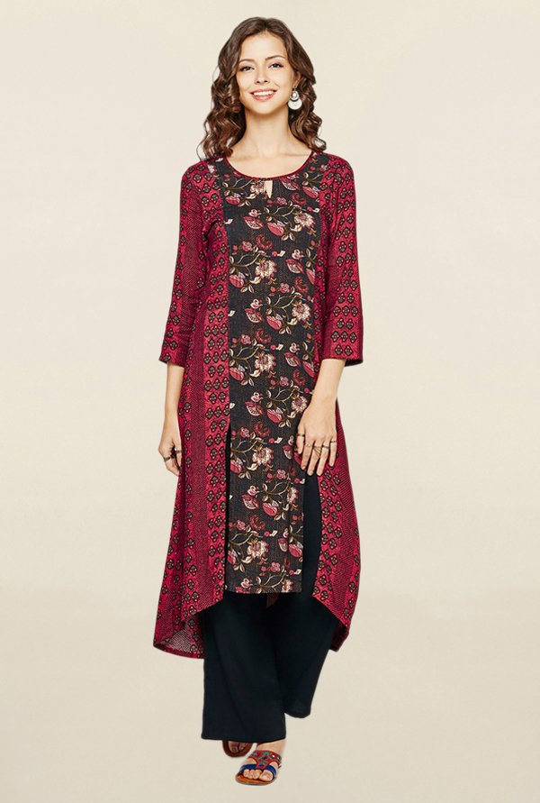 Global Desi Black & Maroon Printed Kurta