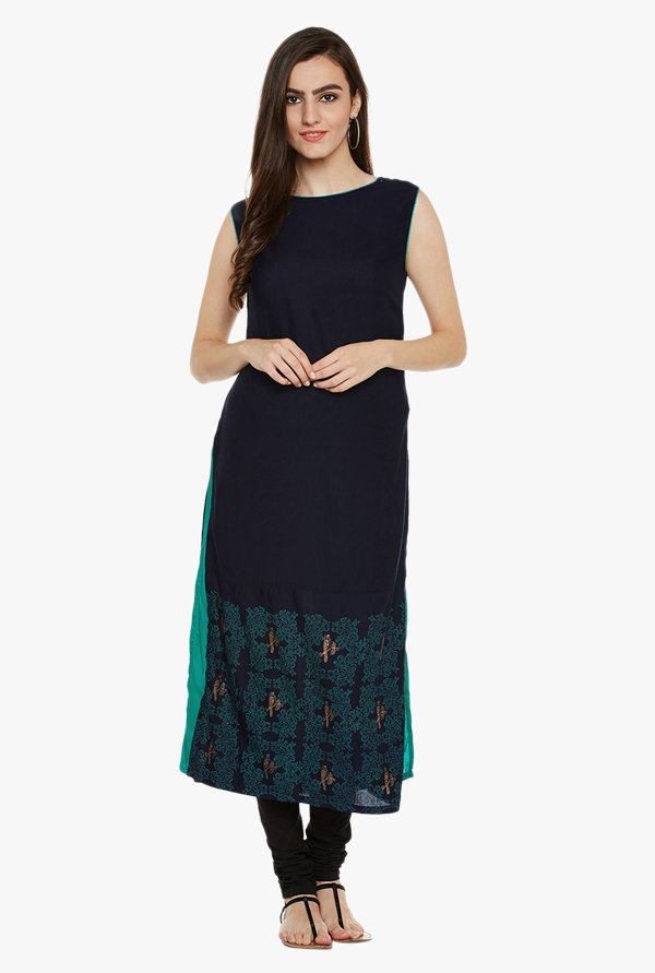 9rasa Navy Printed Cotton Viscose Kurta