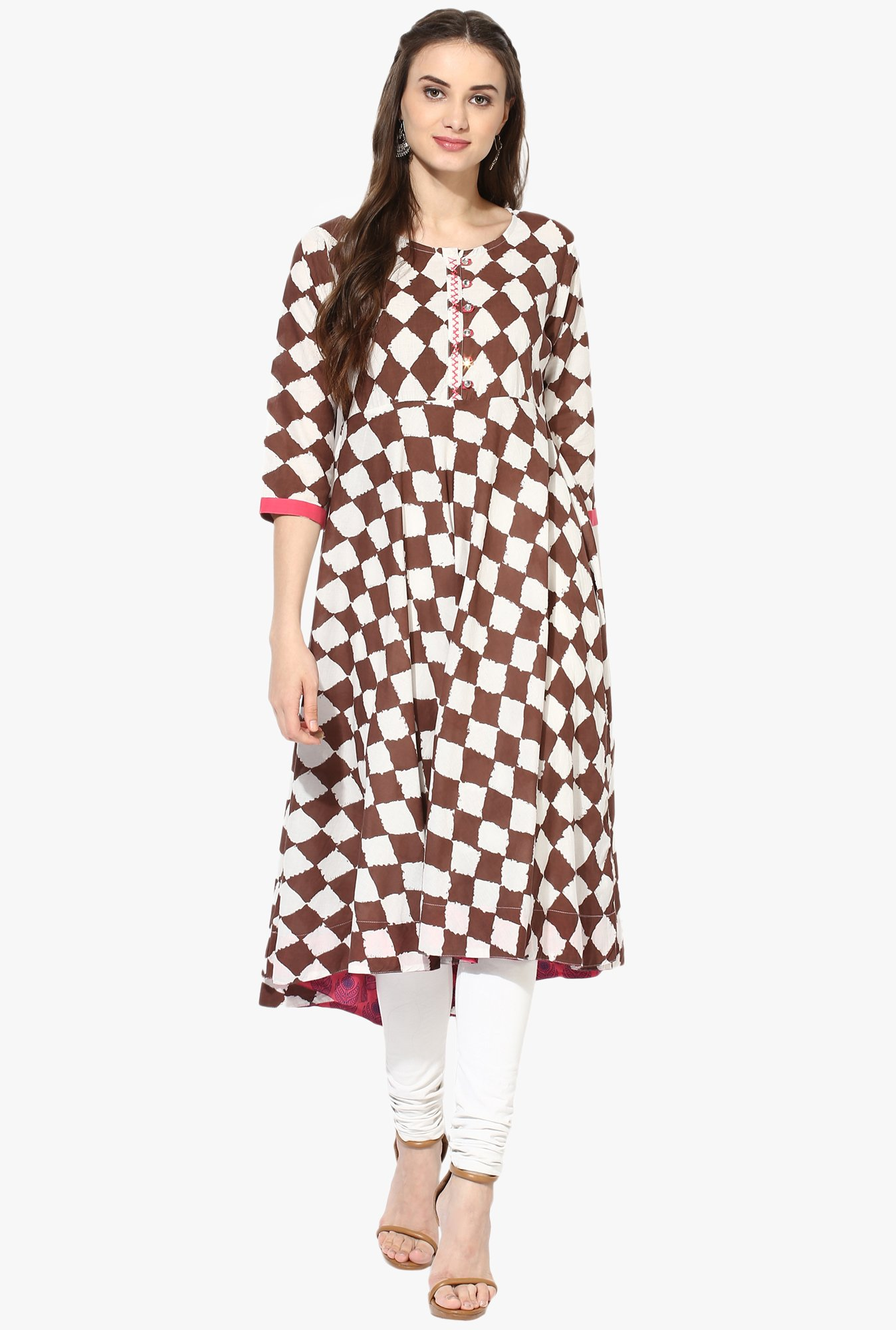Mytri Brown & White Printed Anarkali Kurta