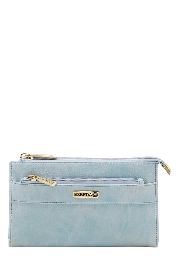 Esbeda Twin Sky Blue Distressed Bi-Fold Wallet