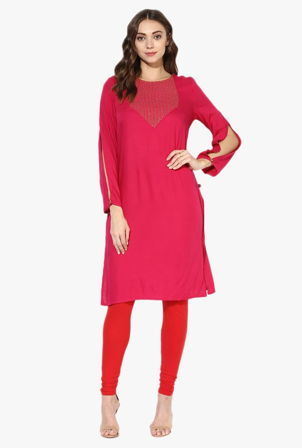 Juniper Fuchsia Embroidered Rayon Kurta