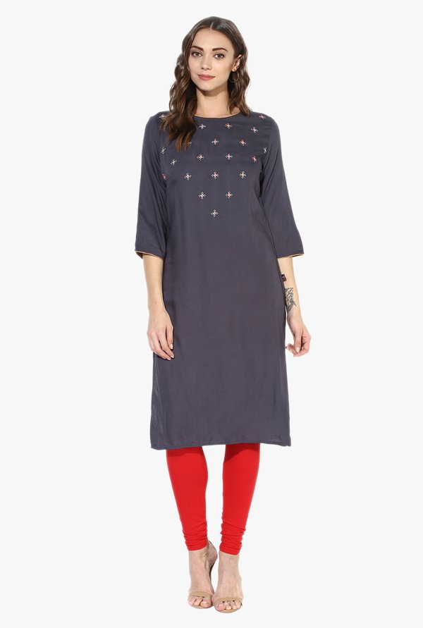 Juniper Grey Embroidered Rayon Kurta