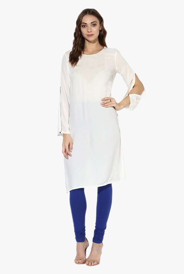 Juniper White Embroidered Rayon Kurta