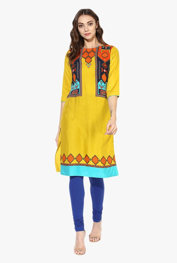 Juniper Yellow Printed Rayon Kurta