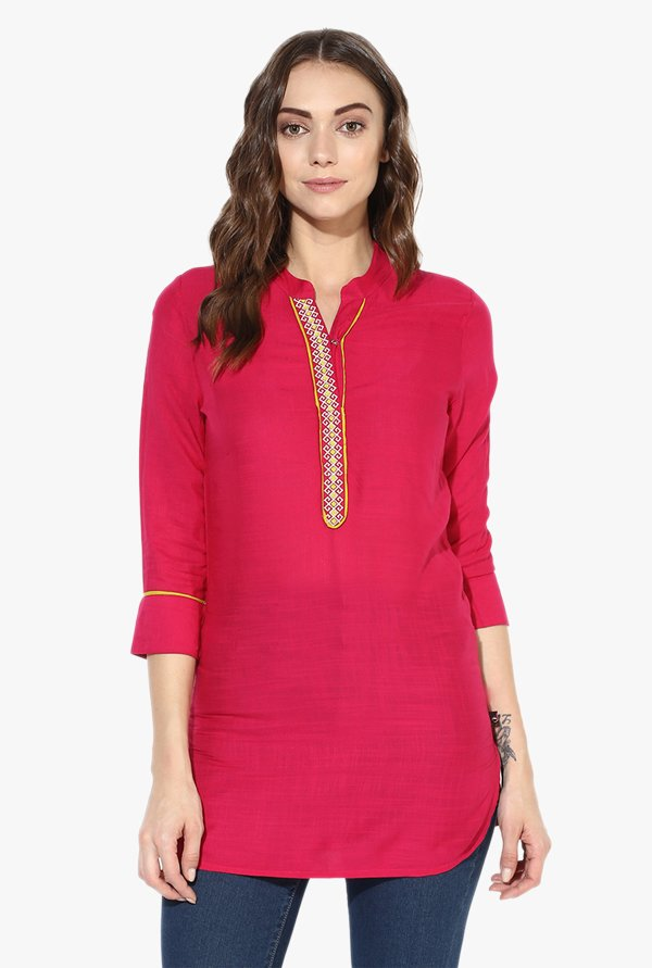 Juniper Magenta Embroidered Rayon Kurti