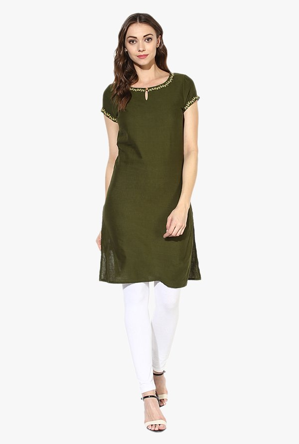 Juniper Olive Embroidered Cotton Kurti