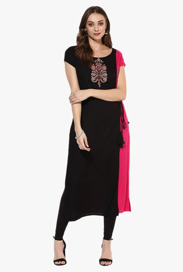 Juniper Black Embroidered Rayon Kurta