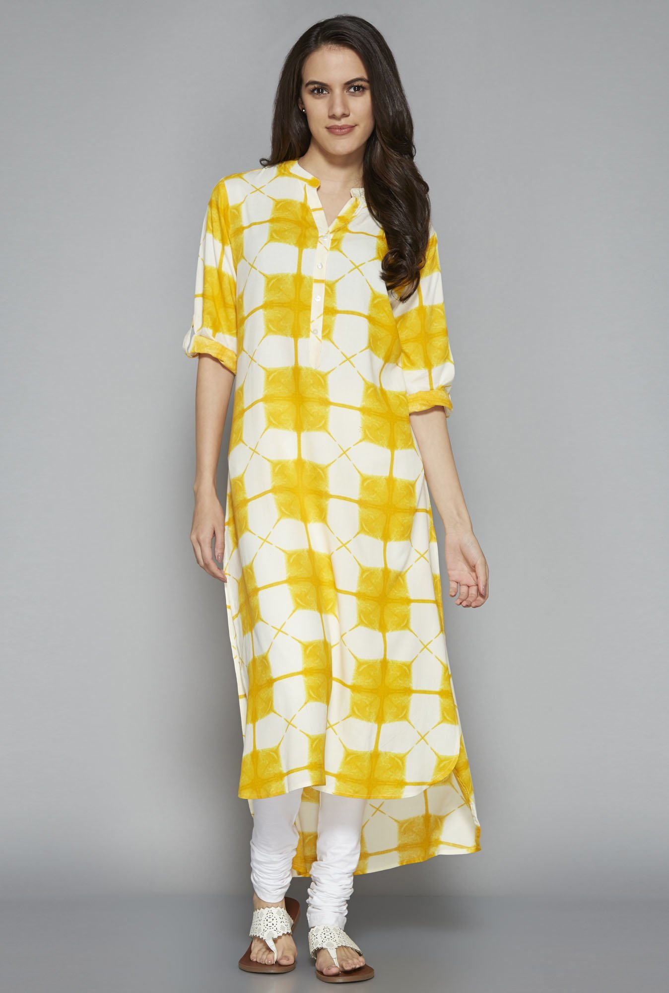 Utsa by Westside Yellow High-low Kurta