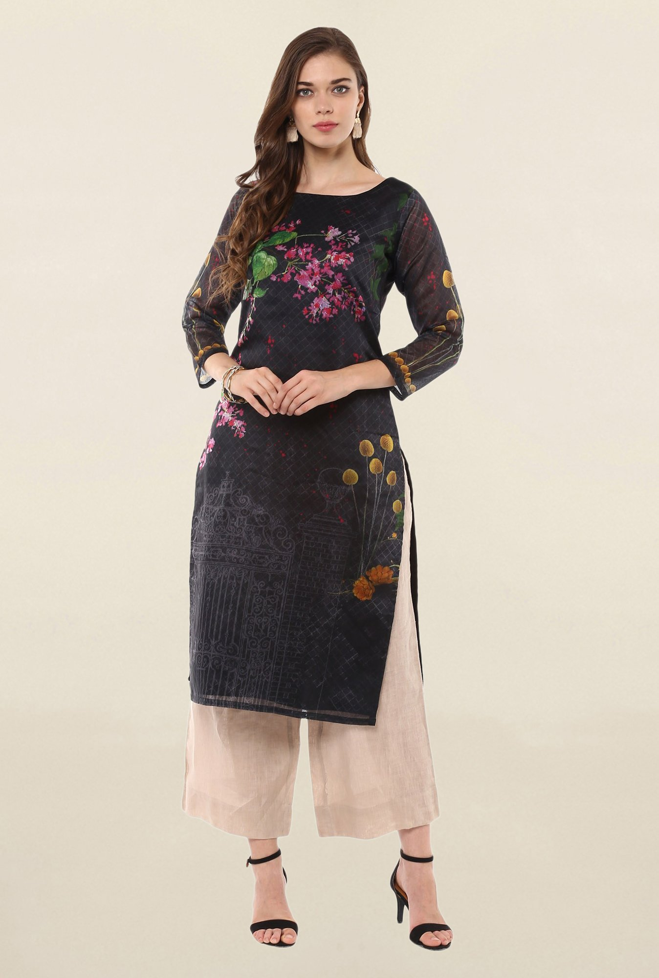 Ahalyaa Black Printed Poly Chanderi Kurta