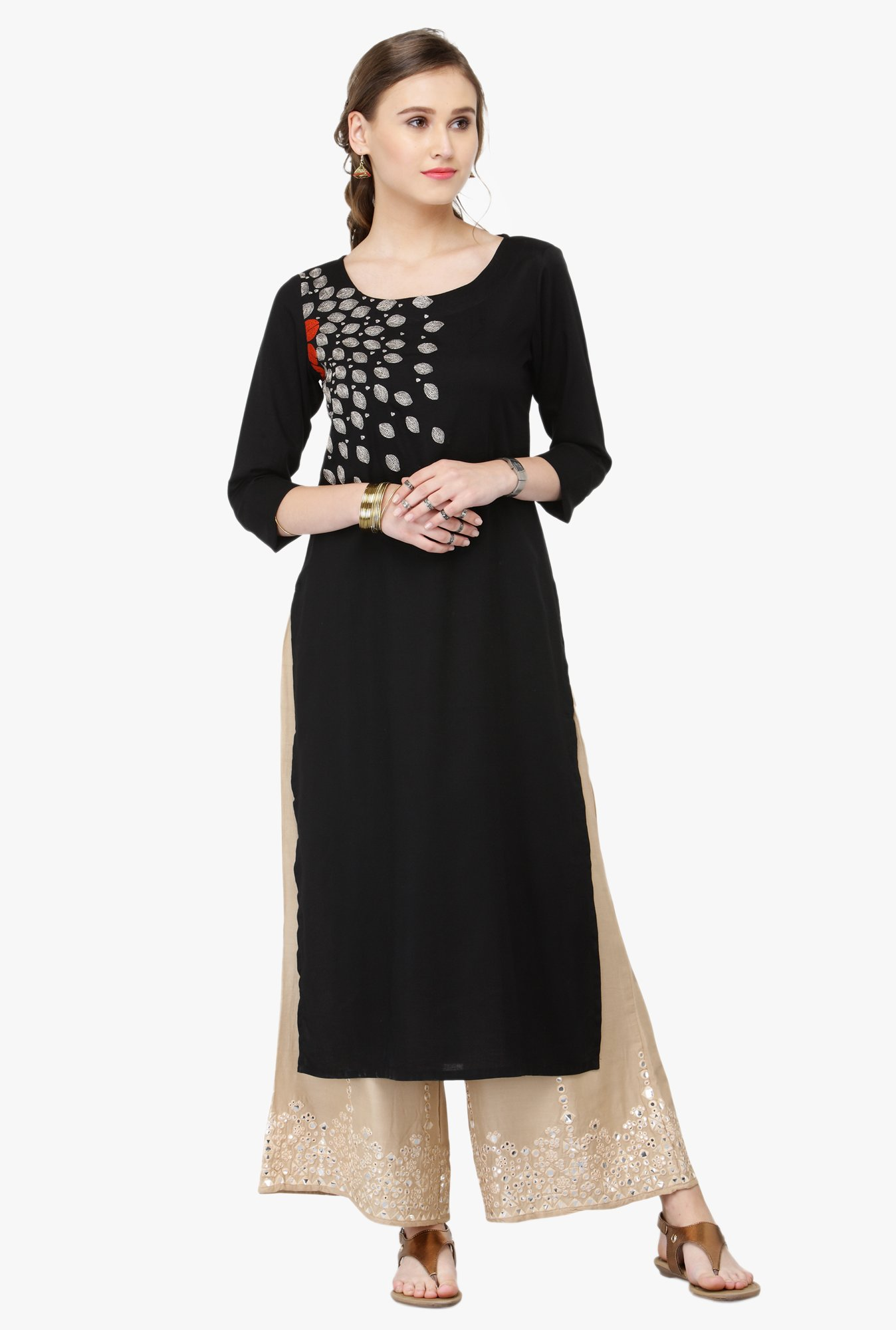 Varanga Black & Beige Embroidered Rayon Kurta With Palazzo