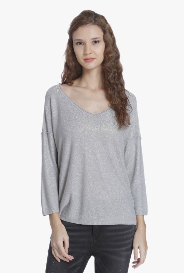 Only Grey Textured Pullover