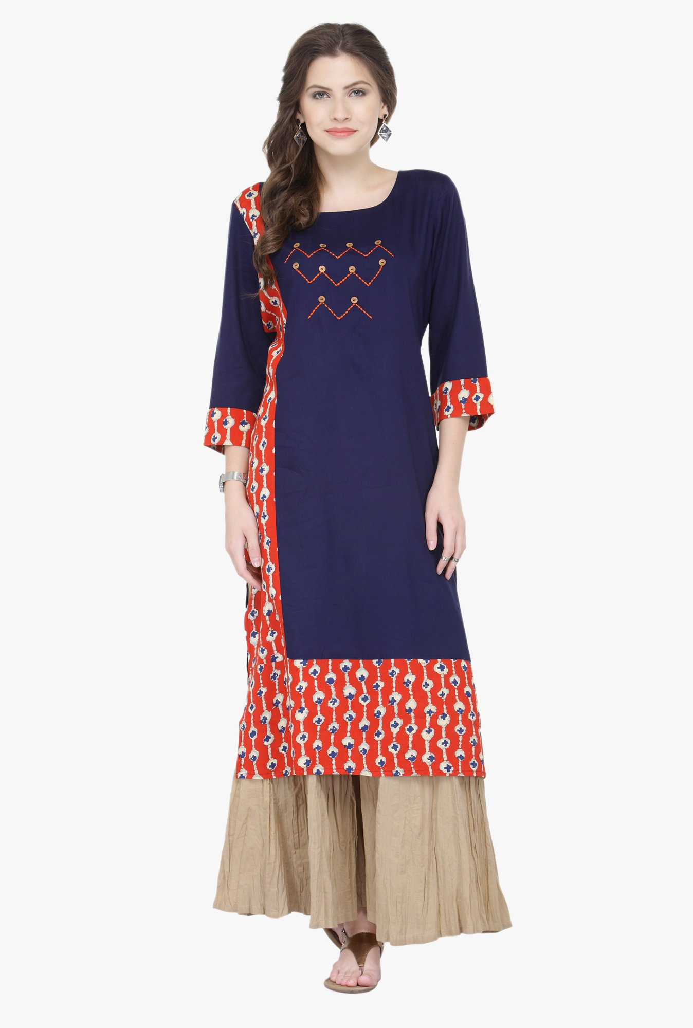 Varanga Blue & Beige Embroidered Rayon Kurta With Palazzo