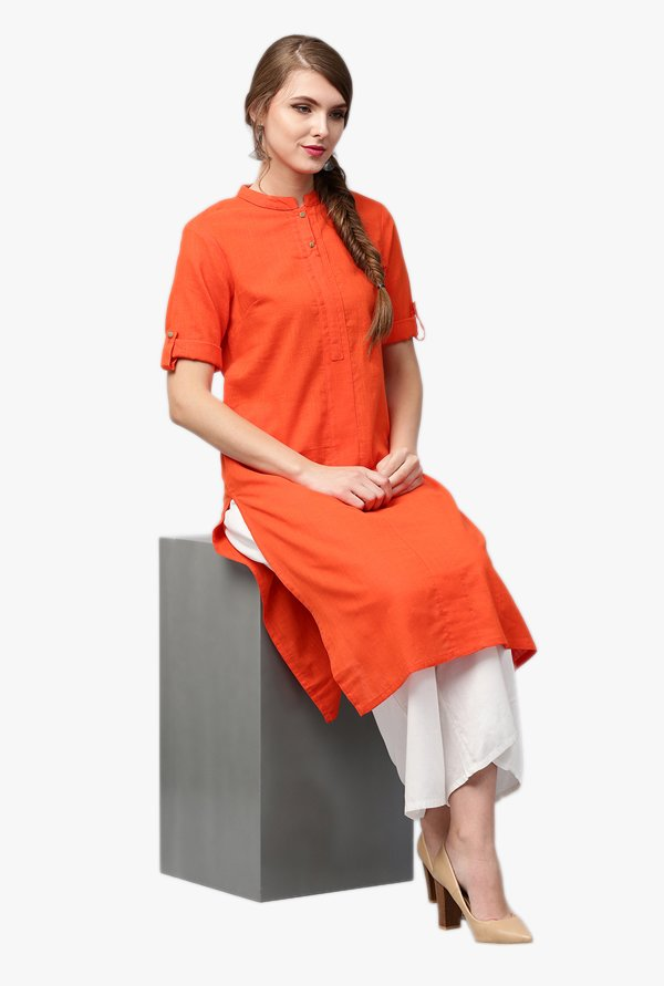 Jaipur Kurti Orange Band Neck Kurta