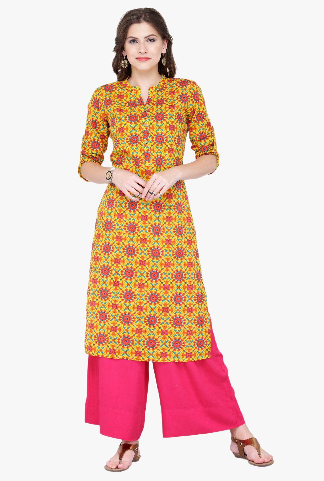 Varanga Yellow & Pink Printed Rayon Kurta With Palazzo