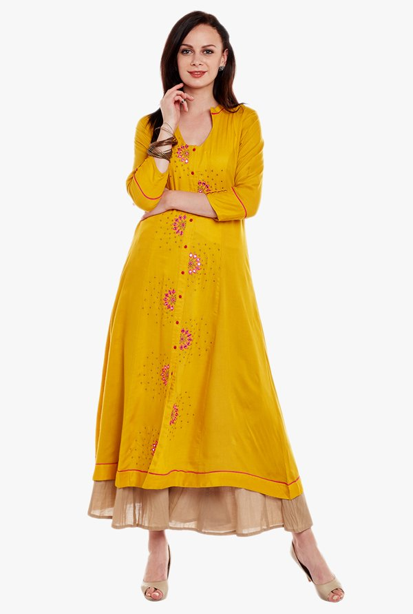 Varanga Mustard & Beige Embroidered Kurta With Palazzo