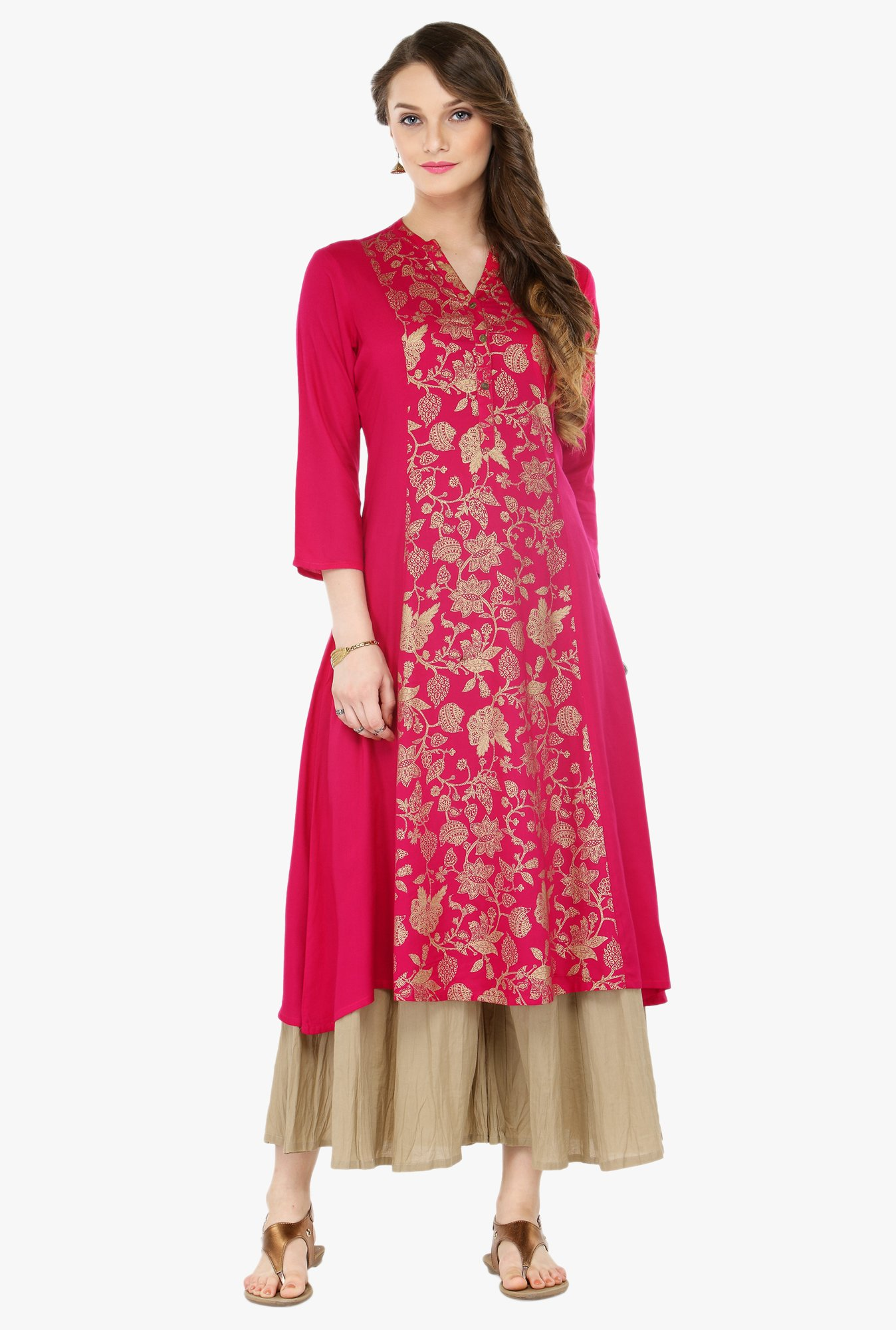 Varanga Pink & Beige Printed Cotton Kurta With Palazzo