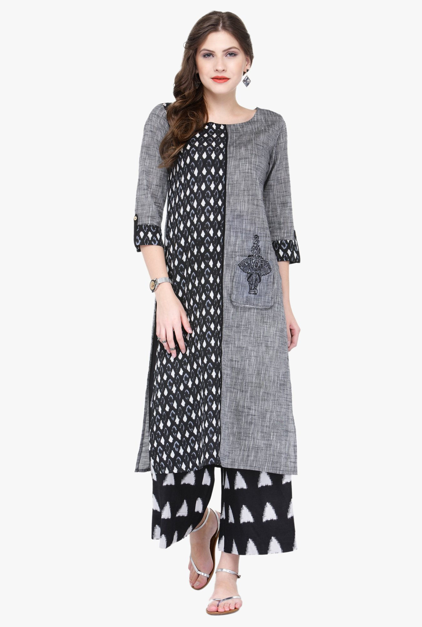 Varanga Grey & Black Embroidered Rayon Kurta With Palazzo