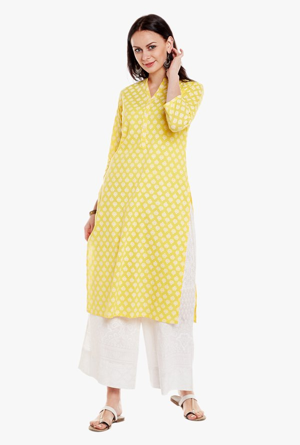Varanga Yellow & White Printed Cotton Kurta With Pant