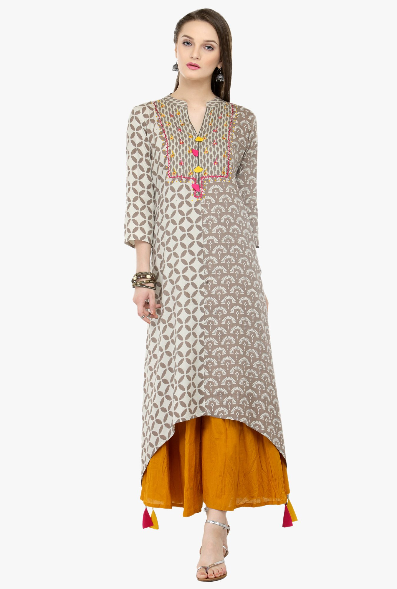 Varanga Grey & Orange Embroidered Rayon Kurta With Palazzo